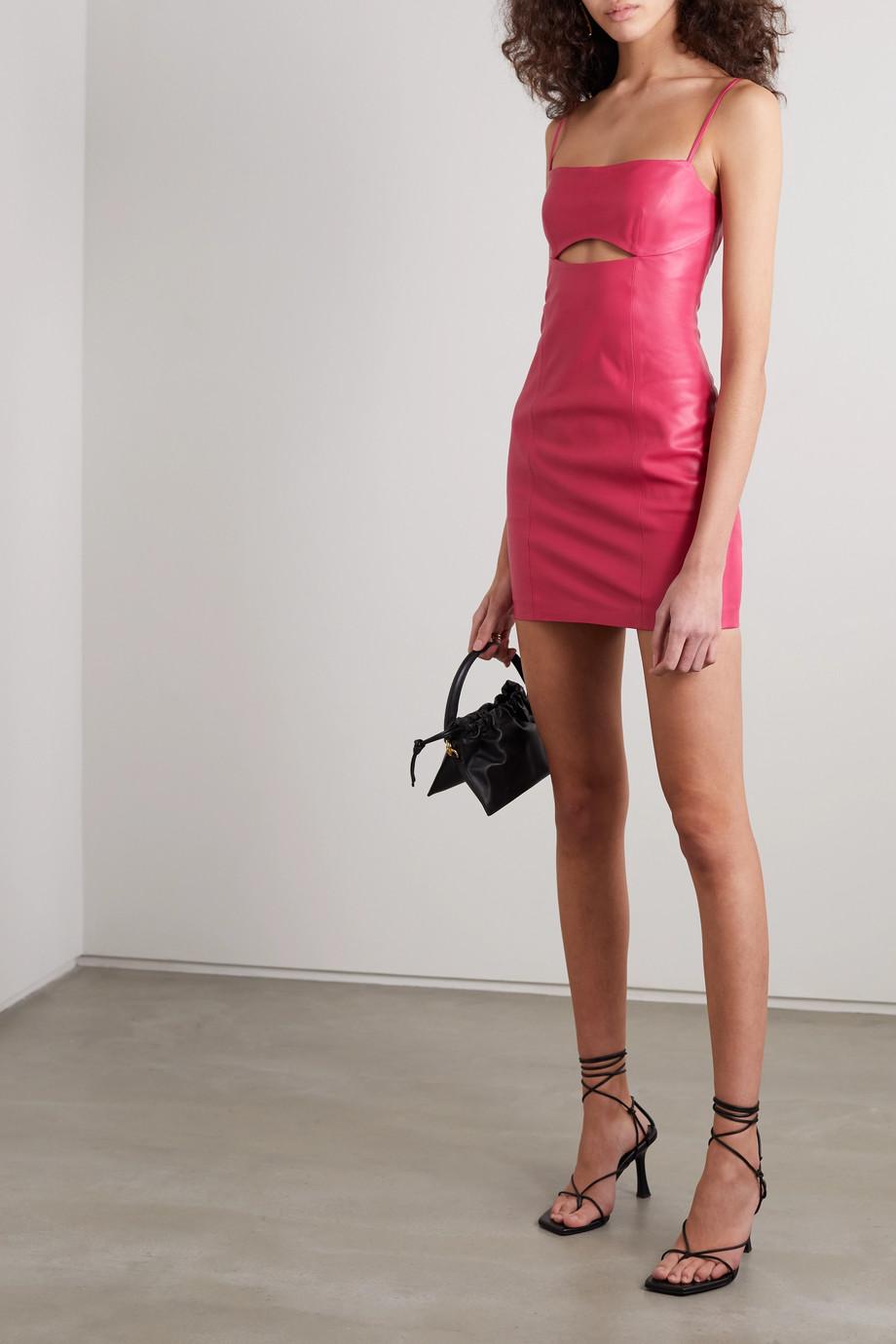 Zeynep Arcay 挖剪皮革迷你连衣裙