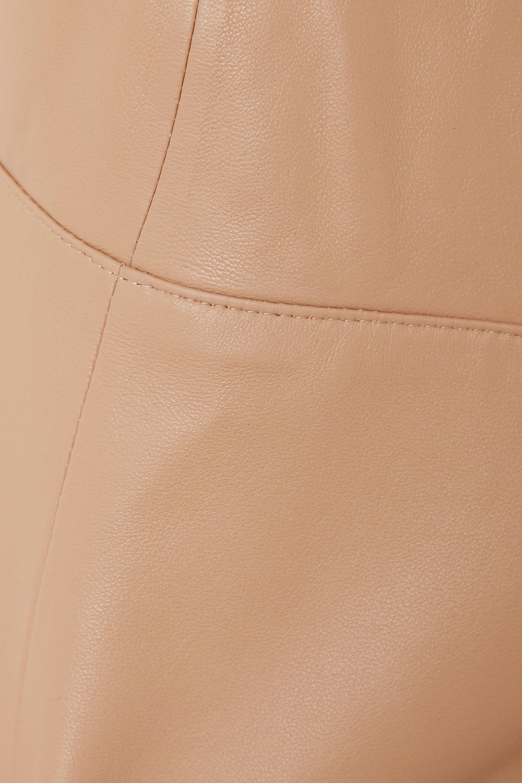 Beige Cutout Leather And Stretch-knit Bodysuit | Zeynep Arcay