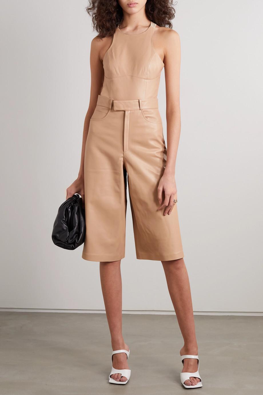 Zeynep Arcay Cutout leather and stretch-knit bodysuit