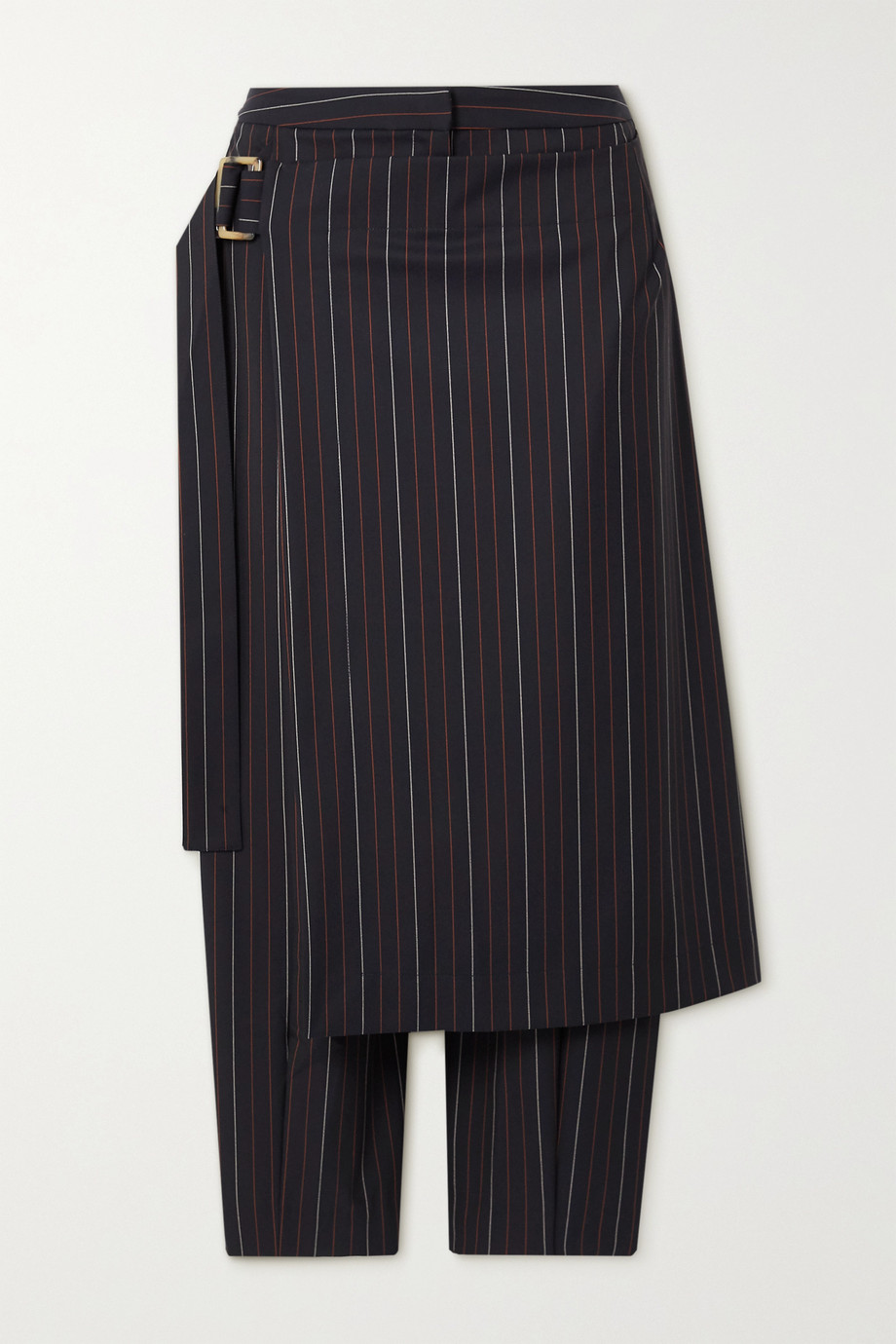 palmer//harding Pantalon fuselé en serge stretch à fines rayures et à superposition Lina