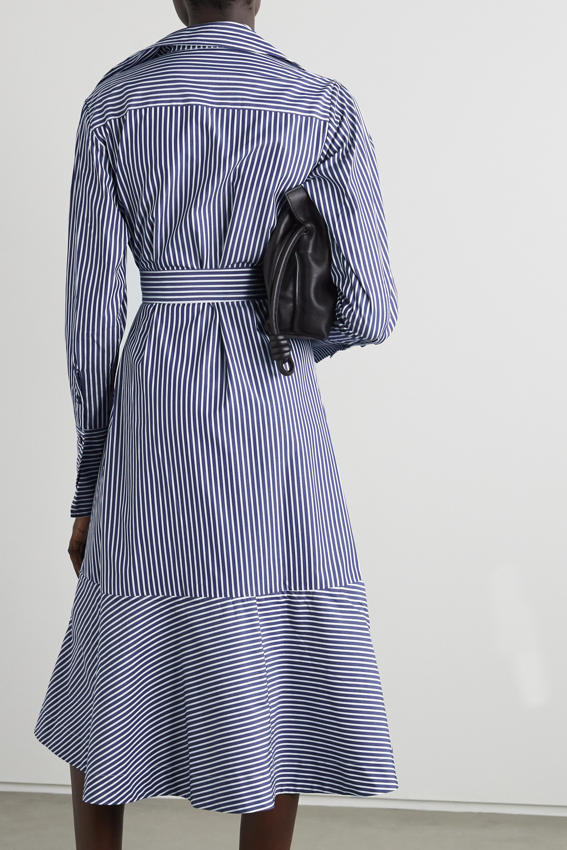palmer//harding Calli belted striped cotton-poplin wrap midi shirt dress