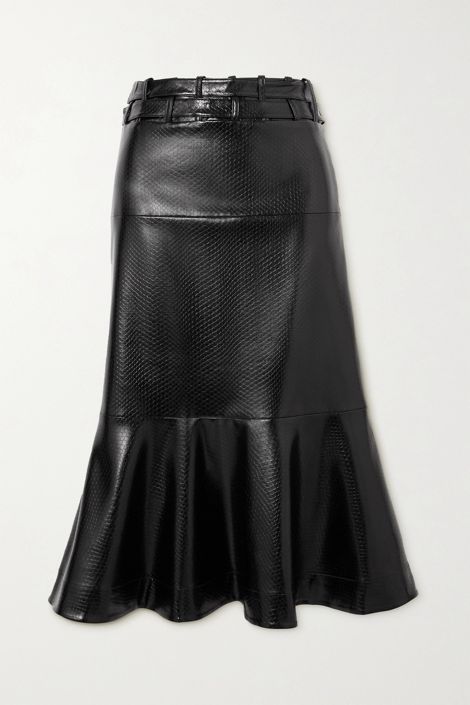 palmer//harding Leuca fluted snake-effect faux leather midi skirt
