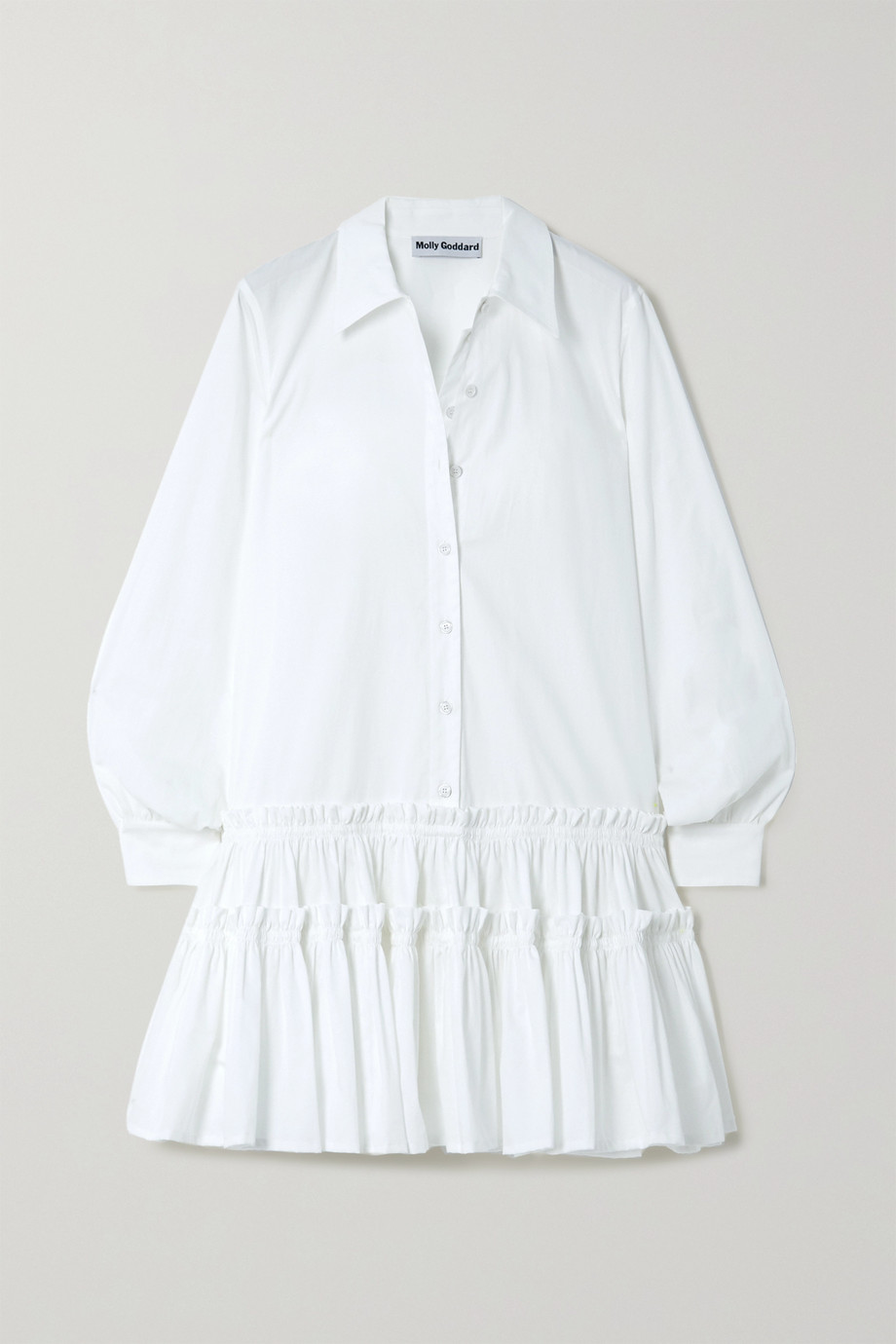 Molly Goddard Ithaca ruffled cotton-gabardine shirt dress