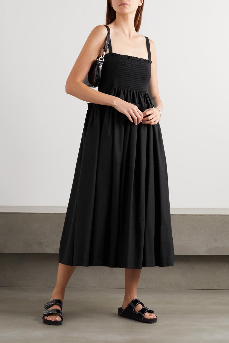 Molly Goddard Marlene 平行绉缝分层式纯棉中长连衣裙