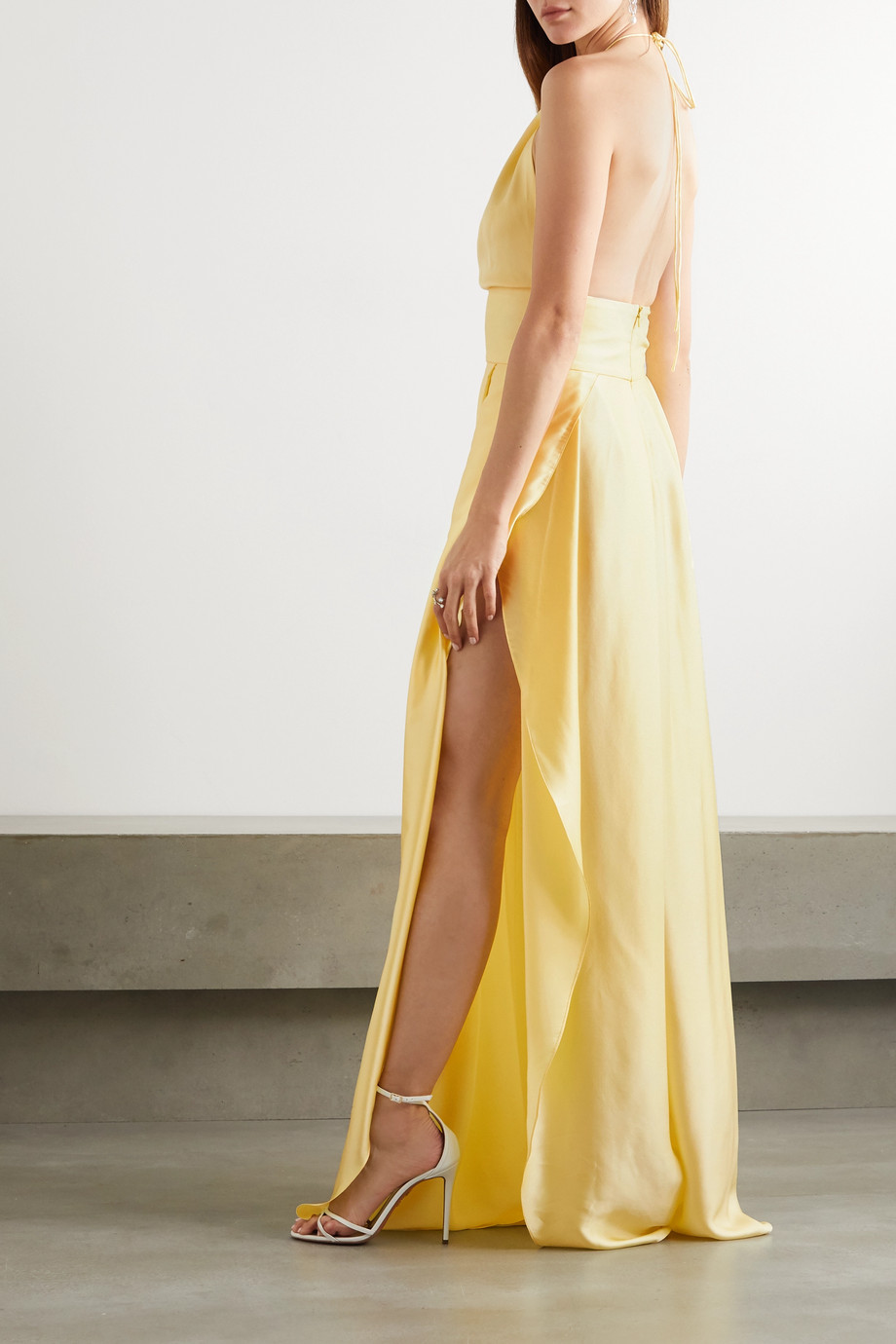 HARMUR Silk-blend satin halterneck maxi dress