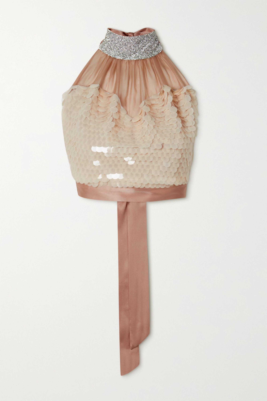 HARMUR Open-back embellished silk-satin halterneck top