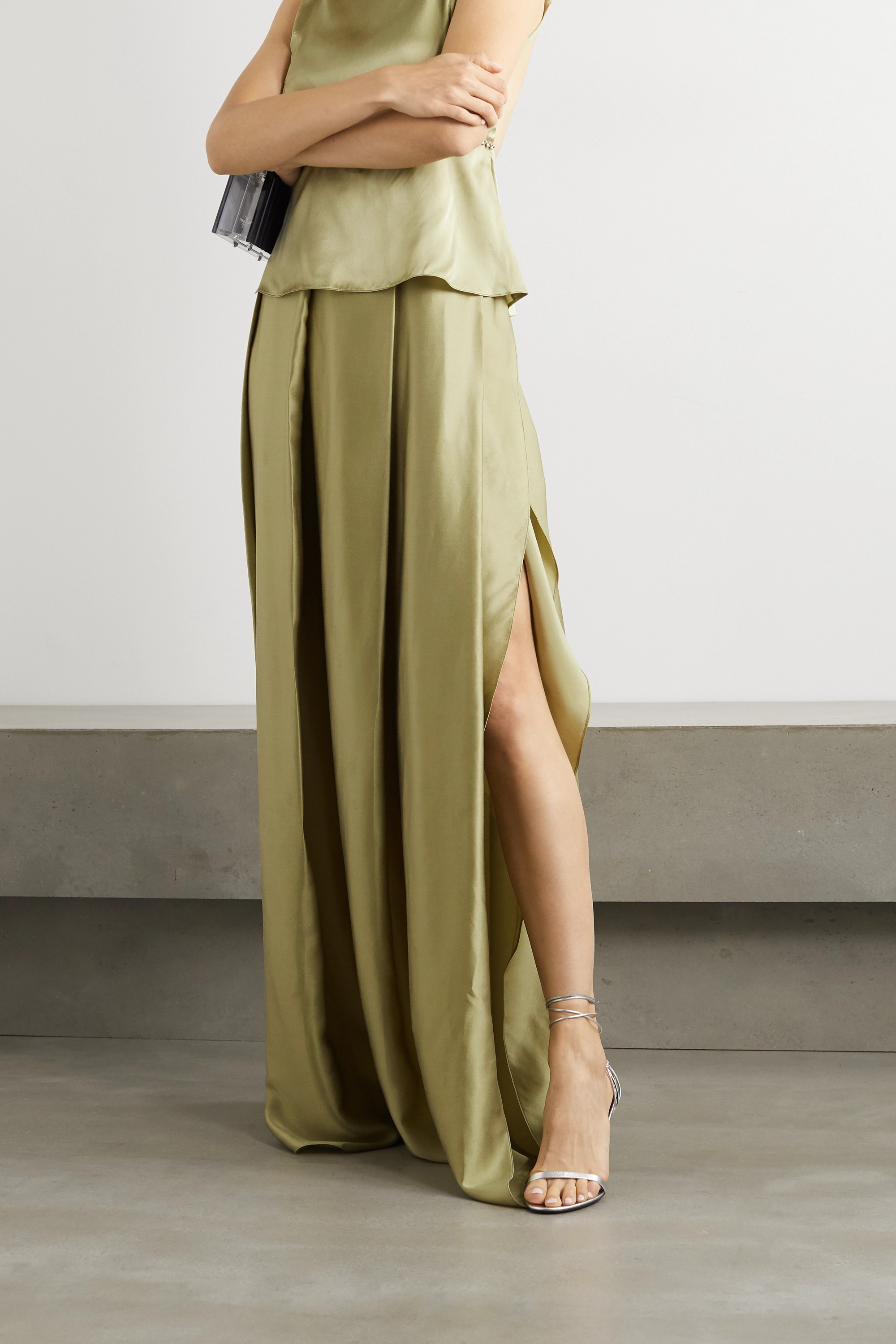 HARMUR Pleated silk-satin maxi skirt