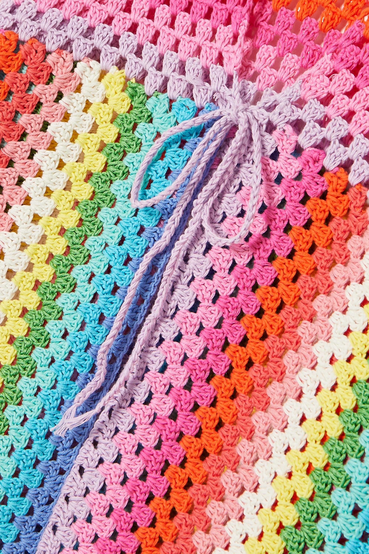 Rose Carmine Striped crocheted cotton sweater