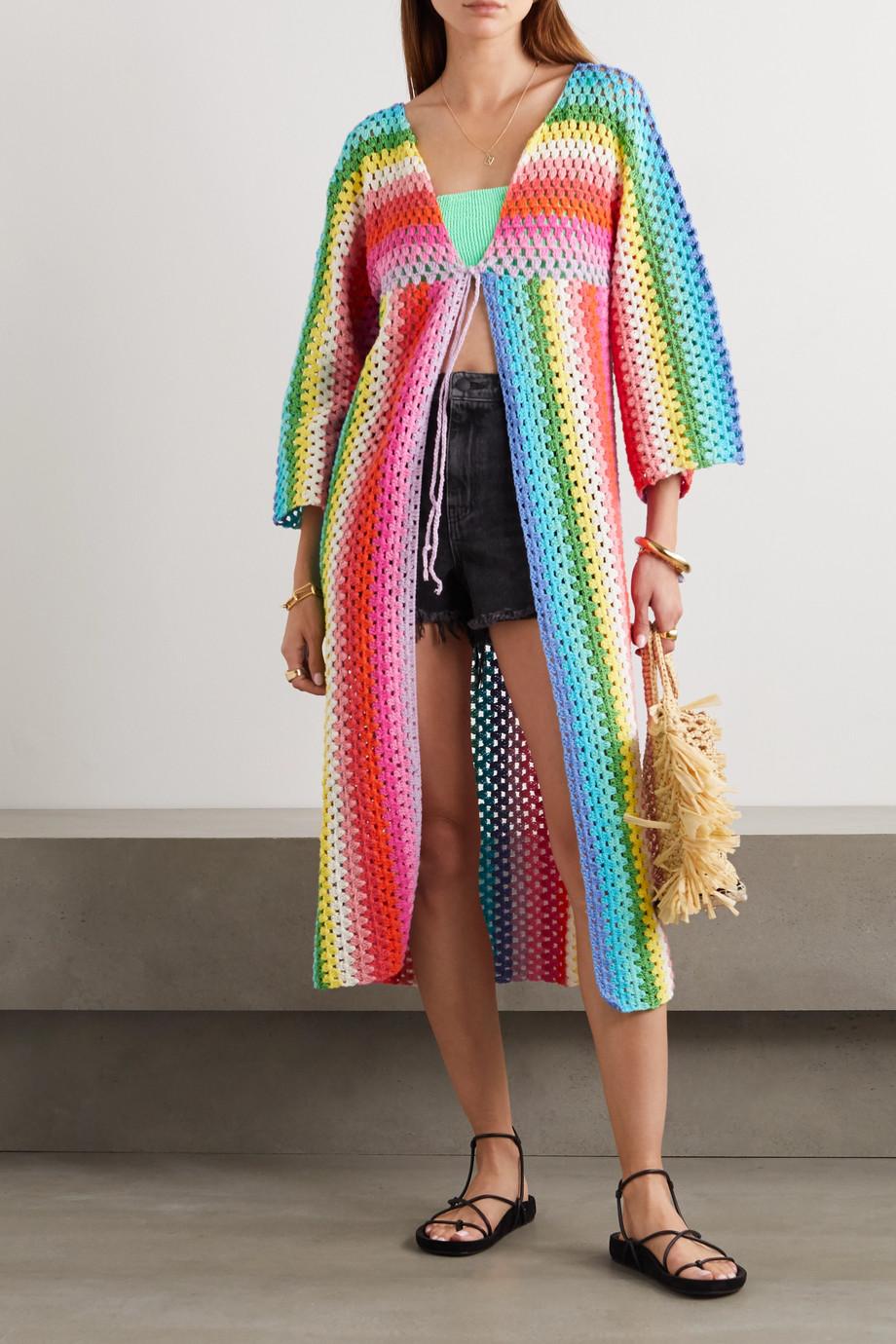 Rose Carmine Striped crocheted cotton cardigan
