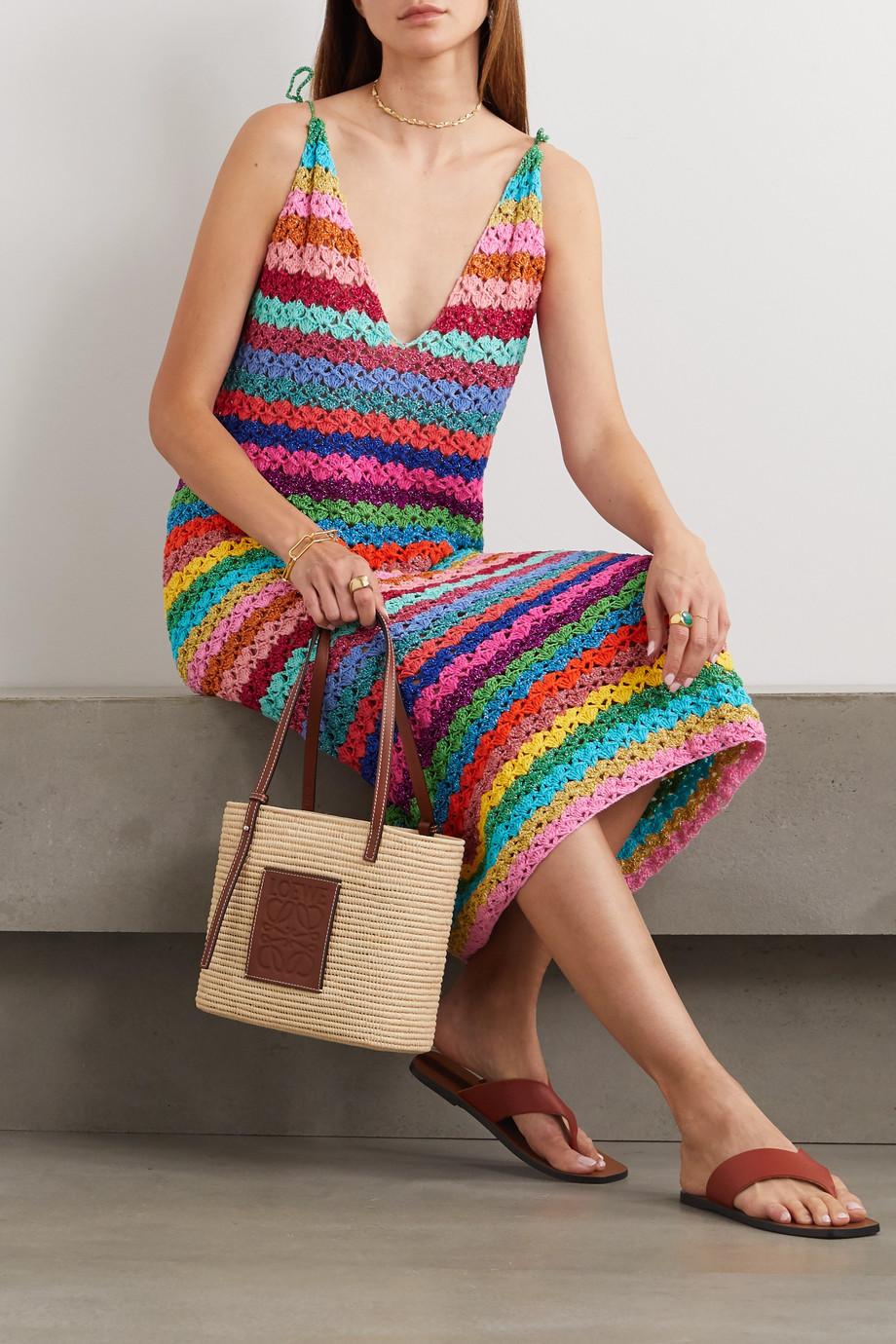 Rose Carmine Metallic striped crocheted maxi dress
