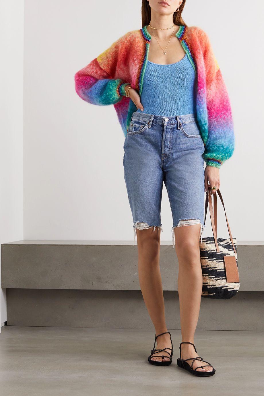 Rose Carmine Lurex-trimmed striped mohair-blend cardigan