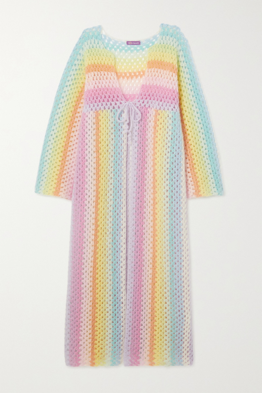 Rose Carmine Striped crocheted mohair-blend cardigan