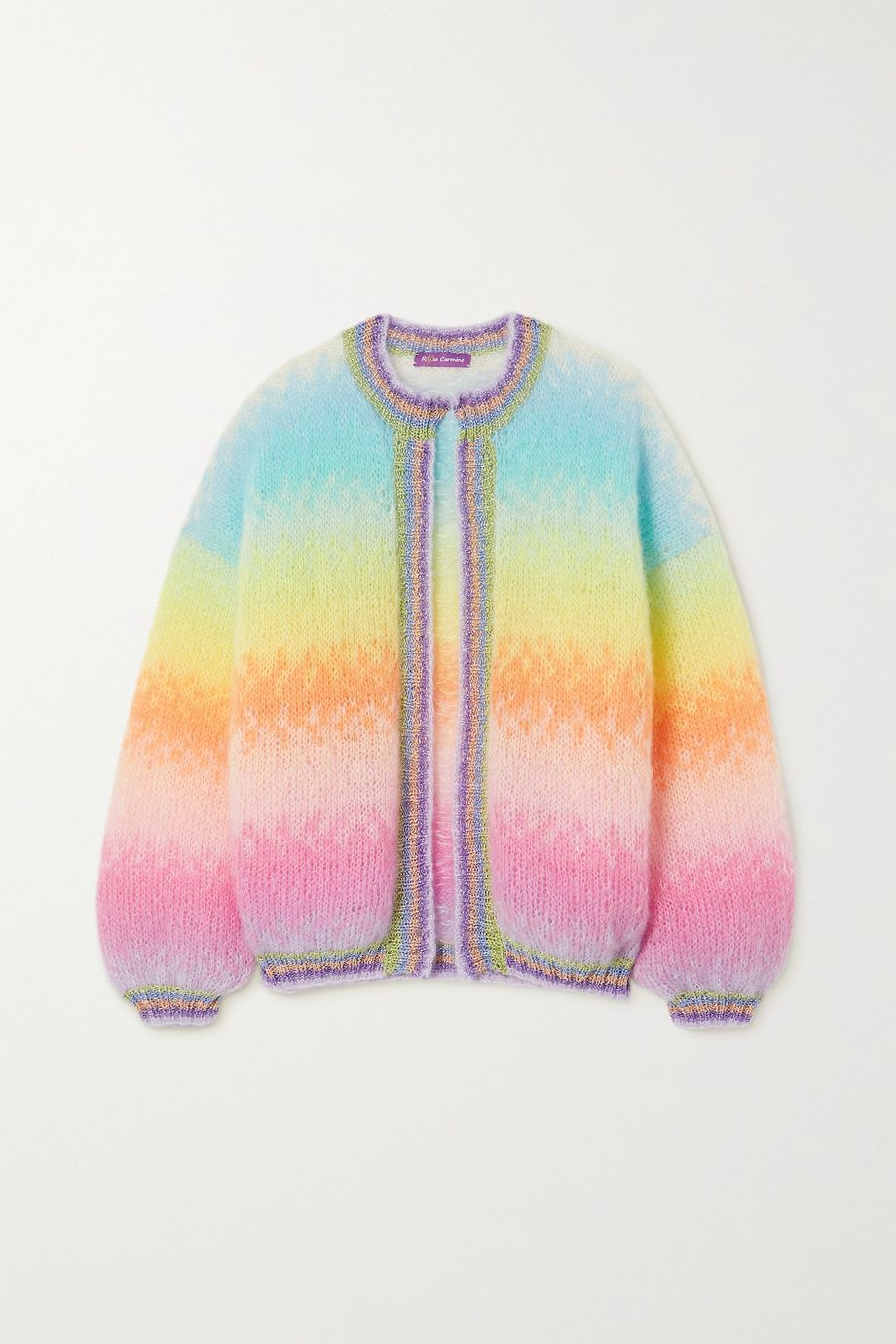 Rose Carmine Striped Lurex-trimmed mohair-blend cardigan