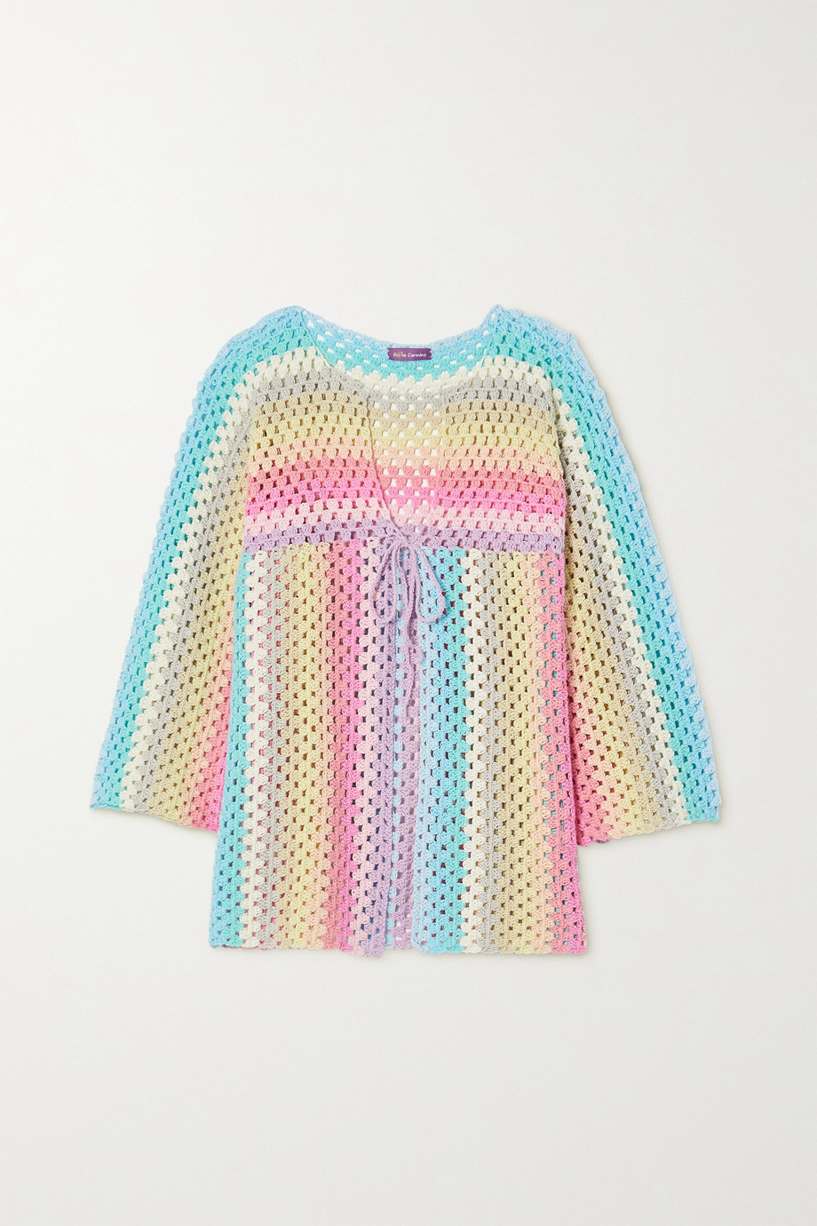 Rose Carmine Striped crocheted cotton sweater