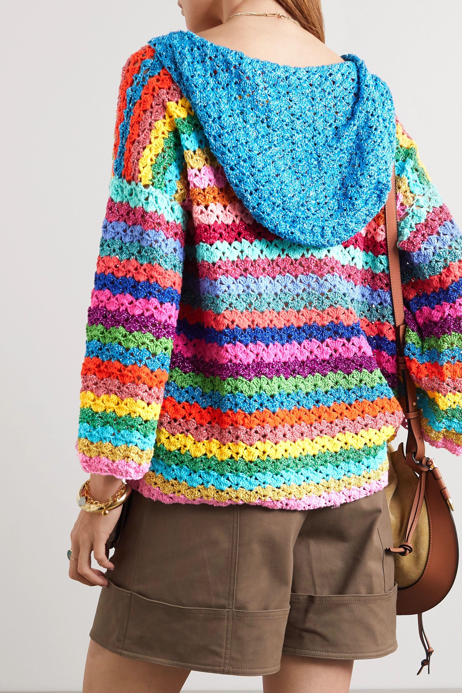 Rose Carmine Hooded metallic striped crocheted cardigan