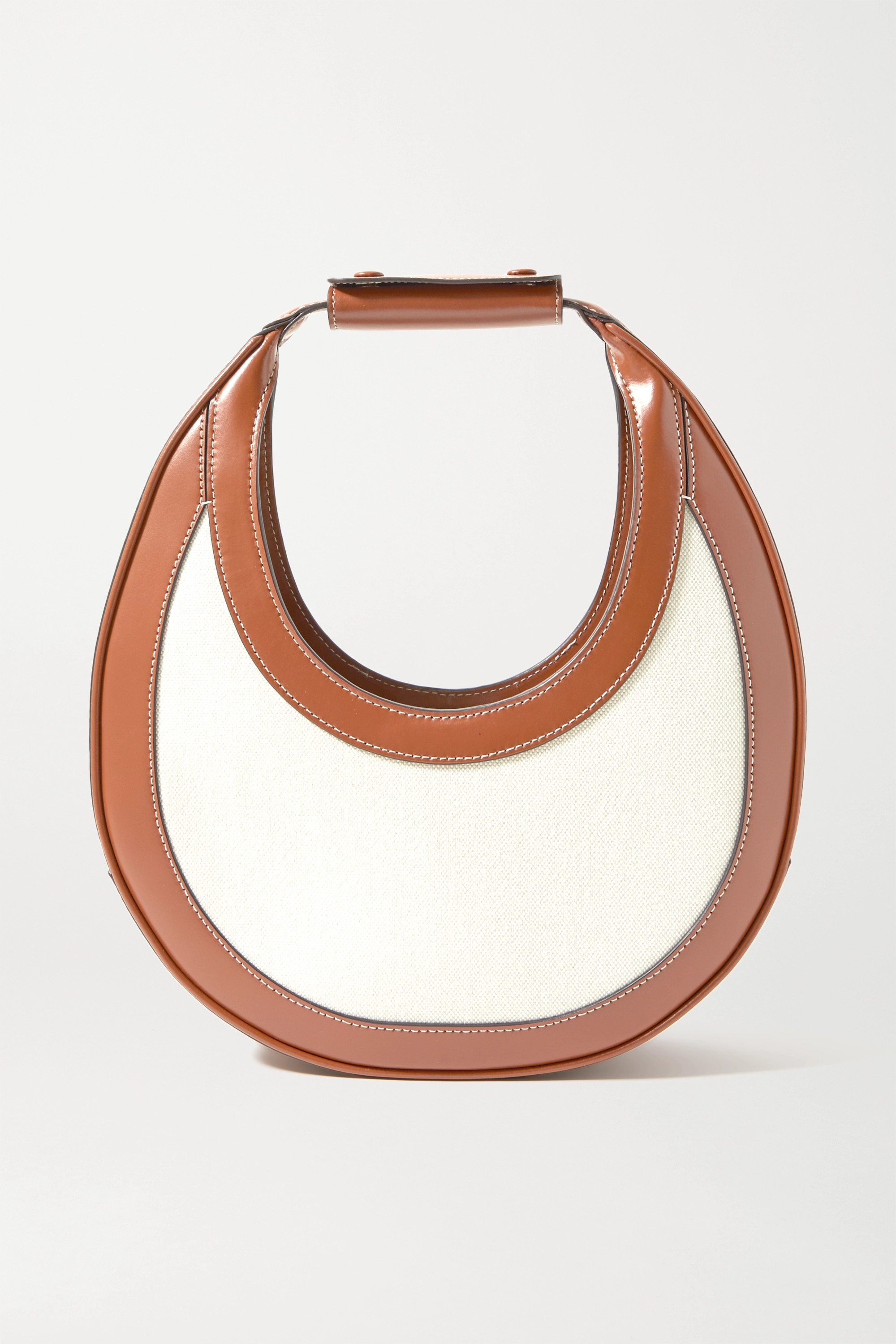 STAUD Moon leather-trimmed canvas tote