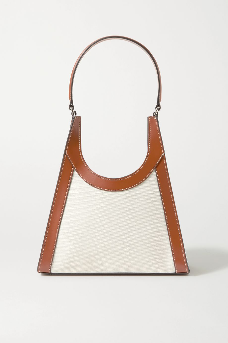 STAUD Rey leather-trimmed canvas tote