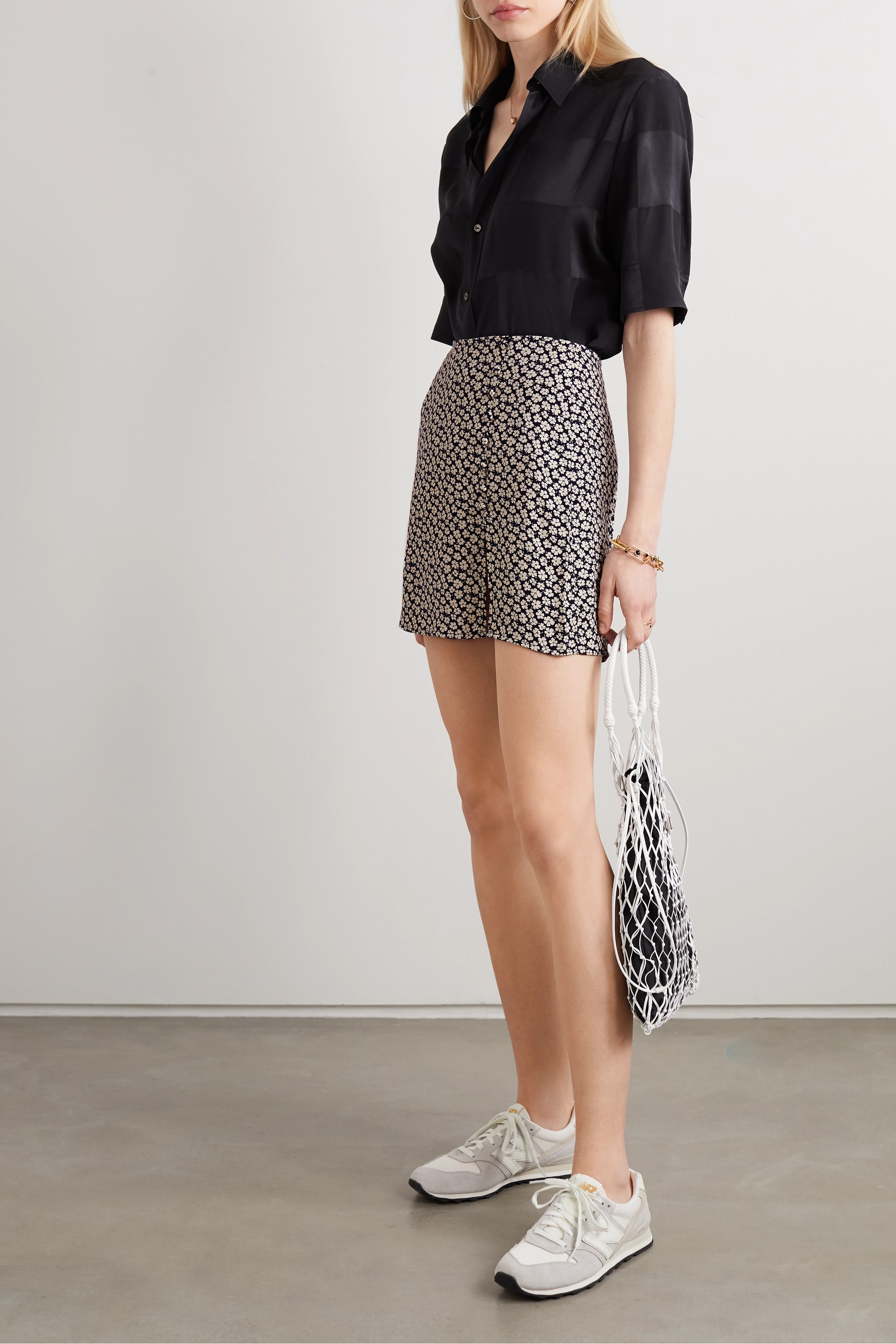 Reformation + NET SUSTAIN Fran button-detailed floral-print crepe mini skirt
