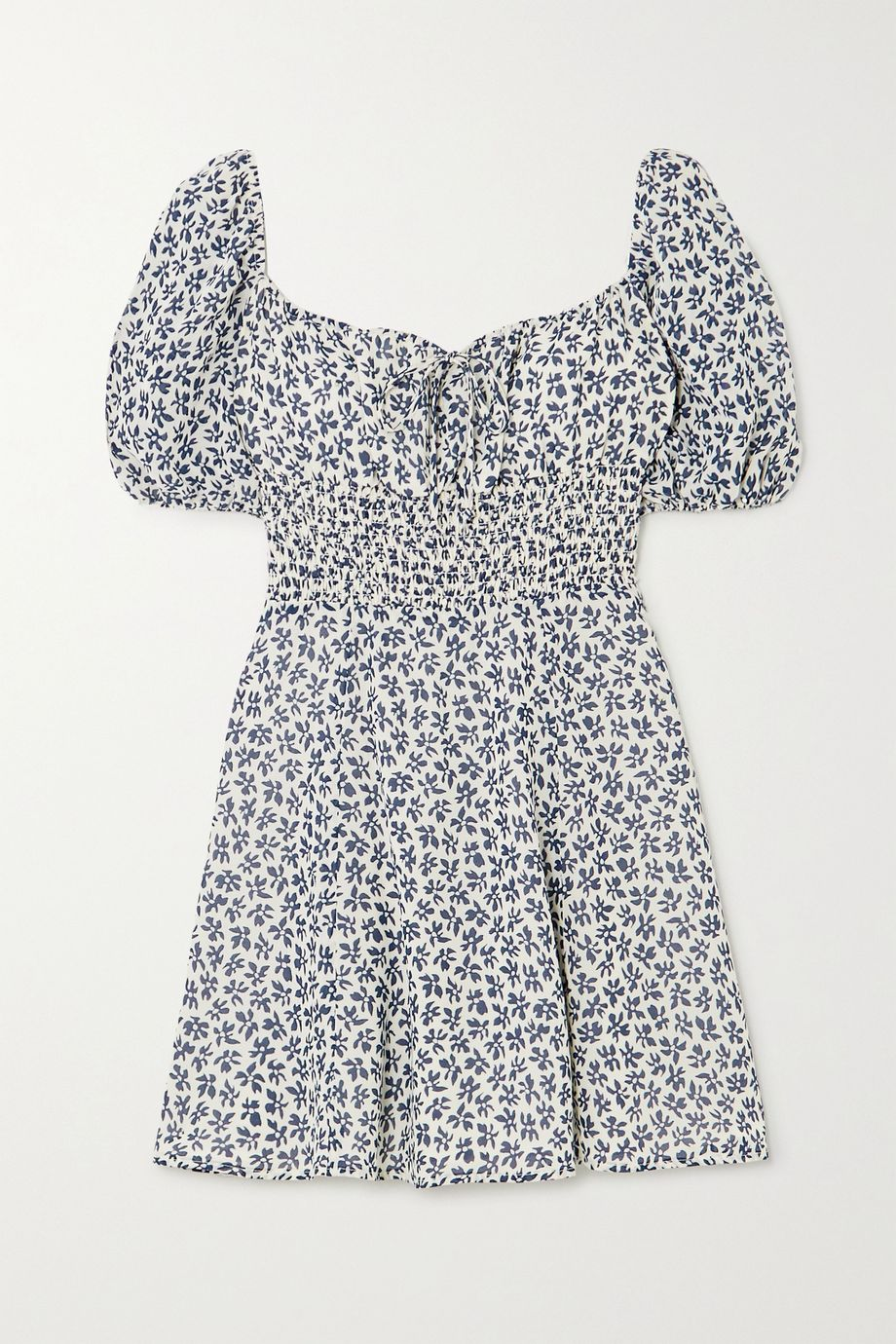 Reformation + NET SUSTAIN Jo shirred floral-print georgette mini dress