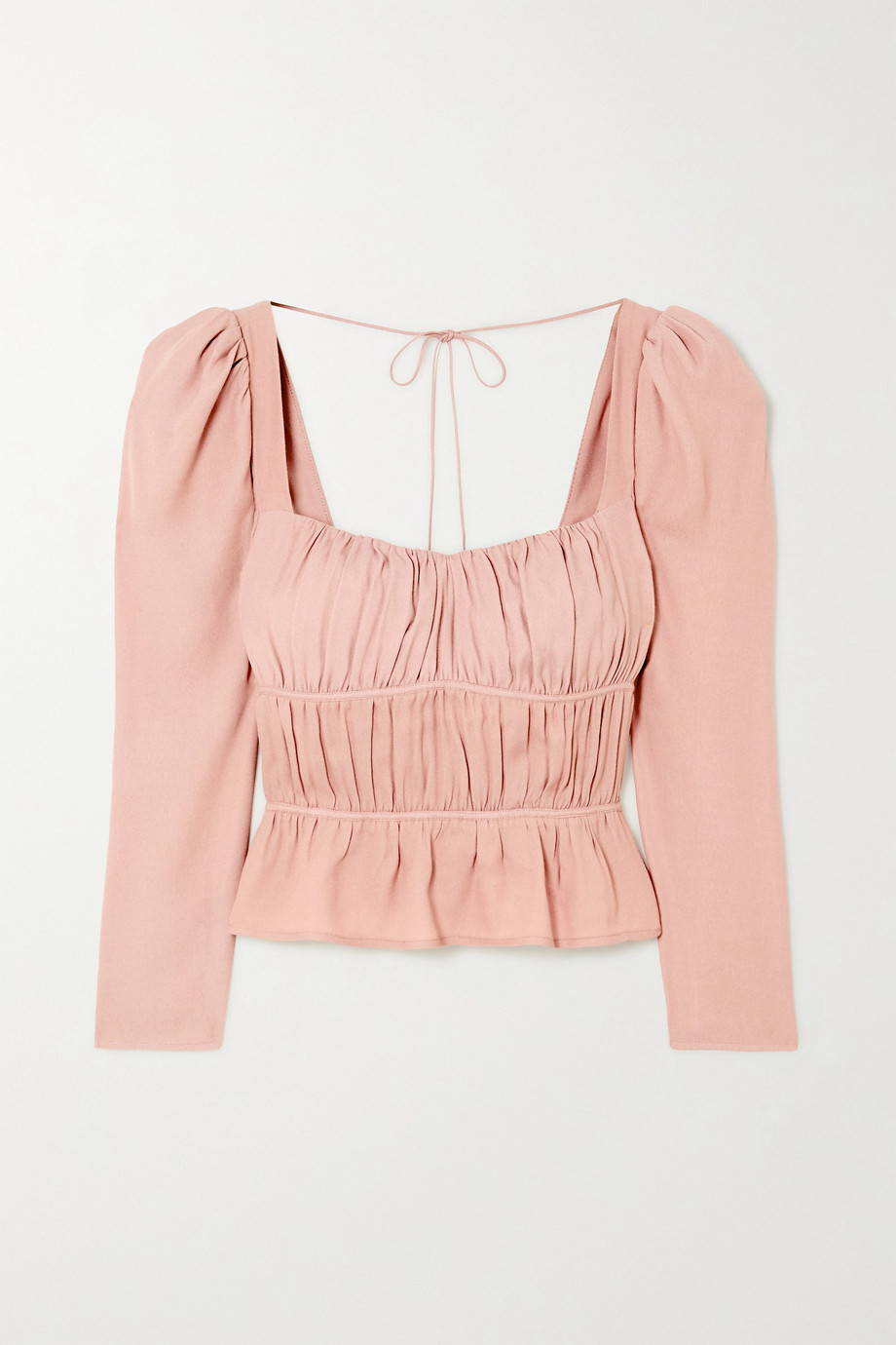 Reformation + NET SUSTAIN Plath shirred crepe blouse