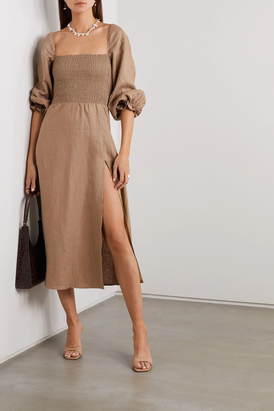 Reformation + NET SUSTAIN Gitane smocked linen midi dress