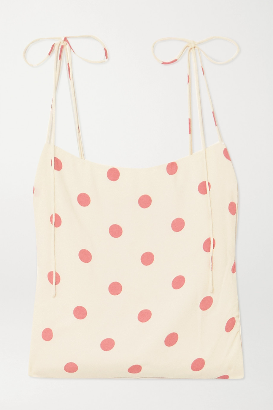 Reformation + NET SUSTAIN Lupe tie-detailed polka-dot crepe top
