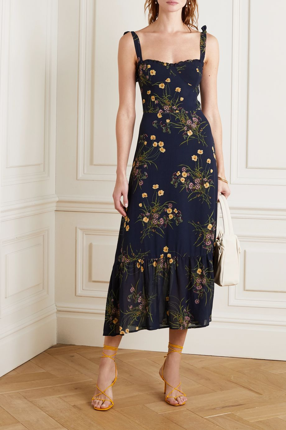 Reformation + NET SUSTAIN Nikita ruffled floral-print georgette midi dress