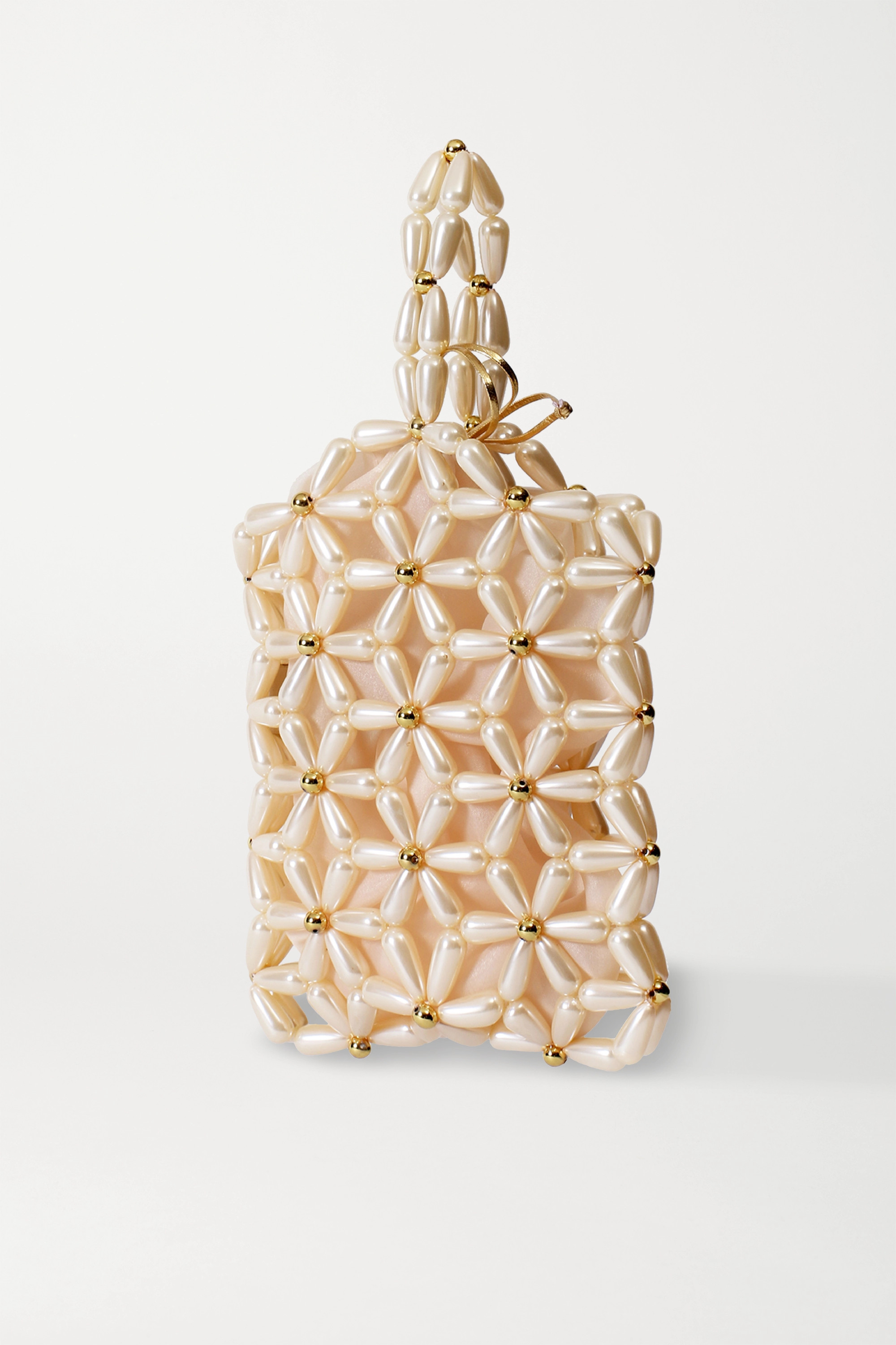 Vanina Daisy faux pearl and gold-tone tote