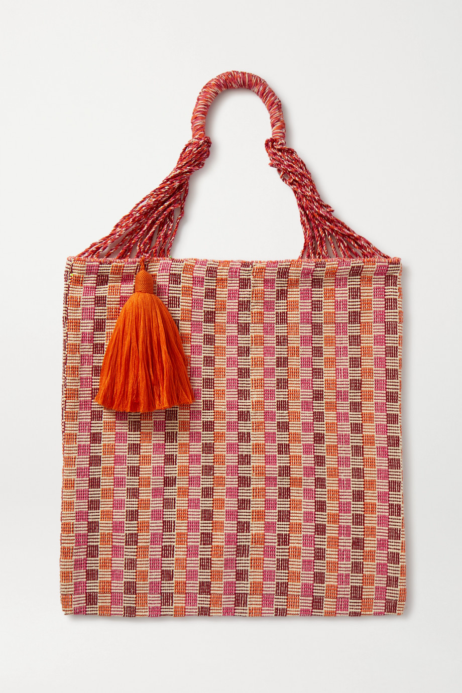 Nannacay Bianca tasseled crocheted cotton-blend tote