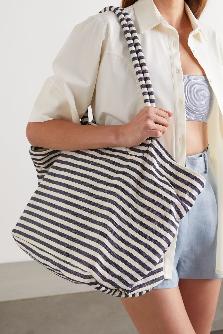 Nannacay Cascata striped canvas tote