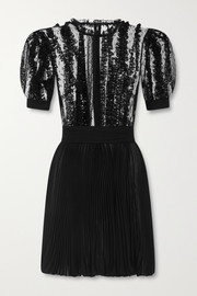 Dolce & Gabbana Lace-trimmed point d'esprit tulle and plissé-chiffon mini dress