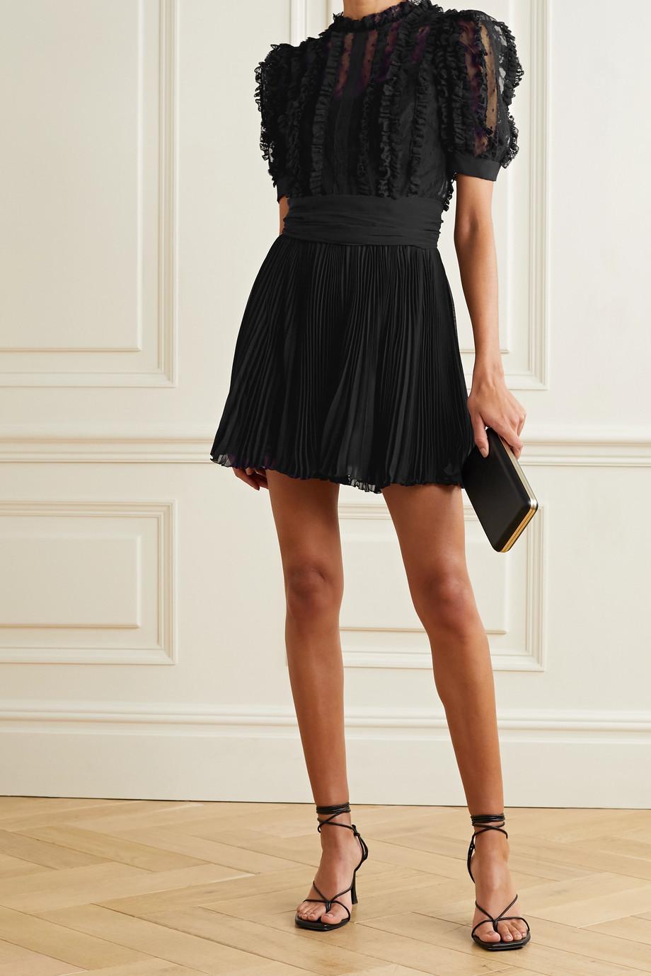 Dolce & Gabbana Lace-trimmed point d'esprit tulle and plissé-chiffon mini dress
