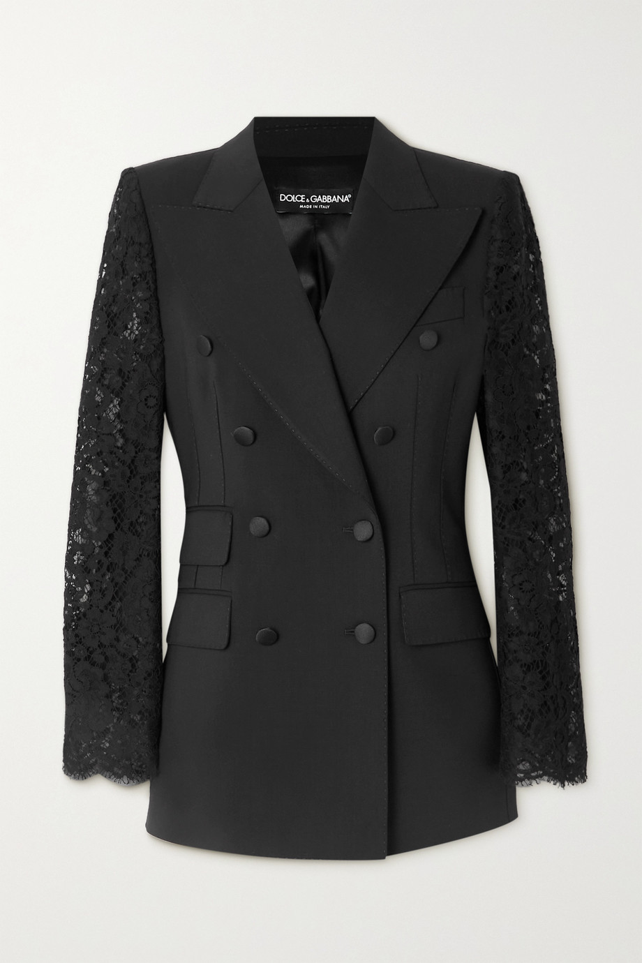 Dolce & Gabbana Double-breasted topstitched wool-blend and lace blazer