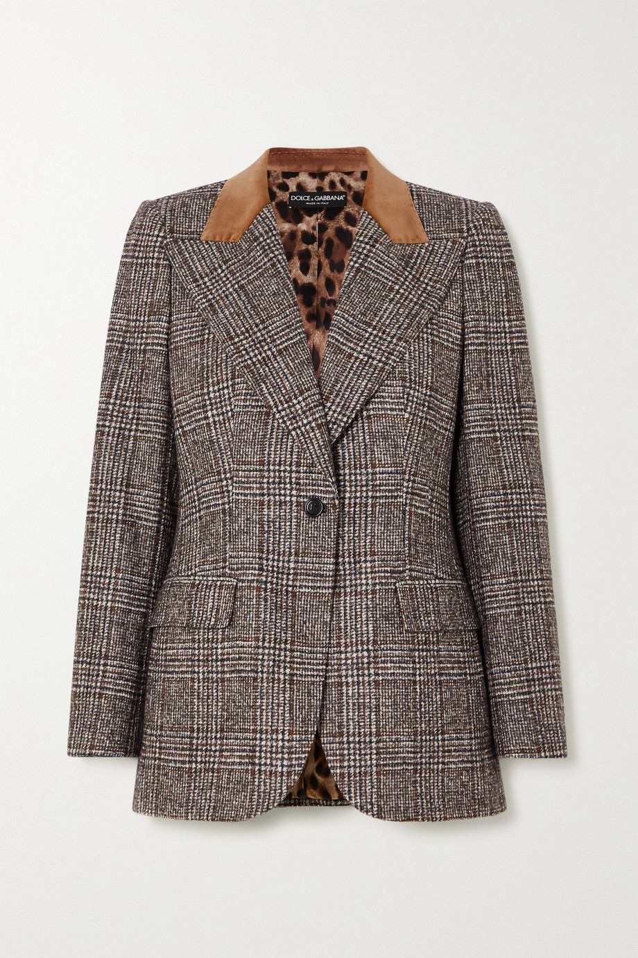 Dolce & Gabbana Velvet-trimmed Prince of Wales checked wool-blend blazer