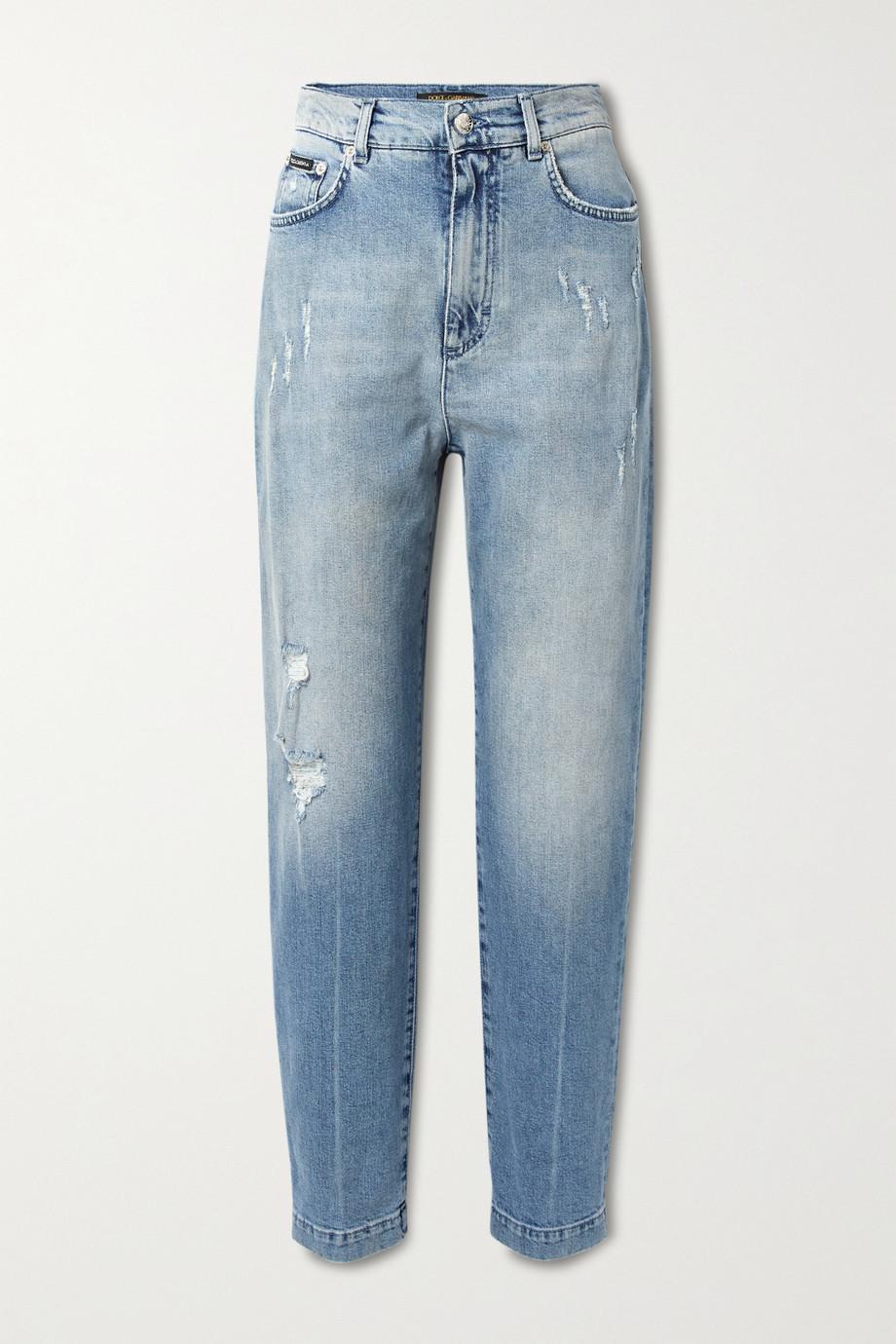 Dolce & Gabbana Distressed high-rise boyfriend jeans