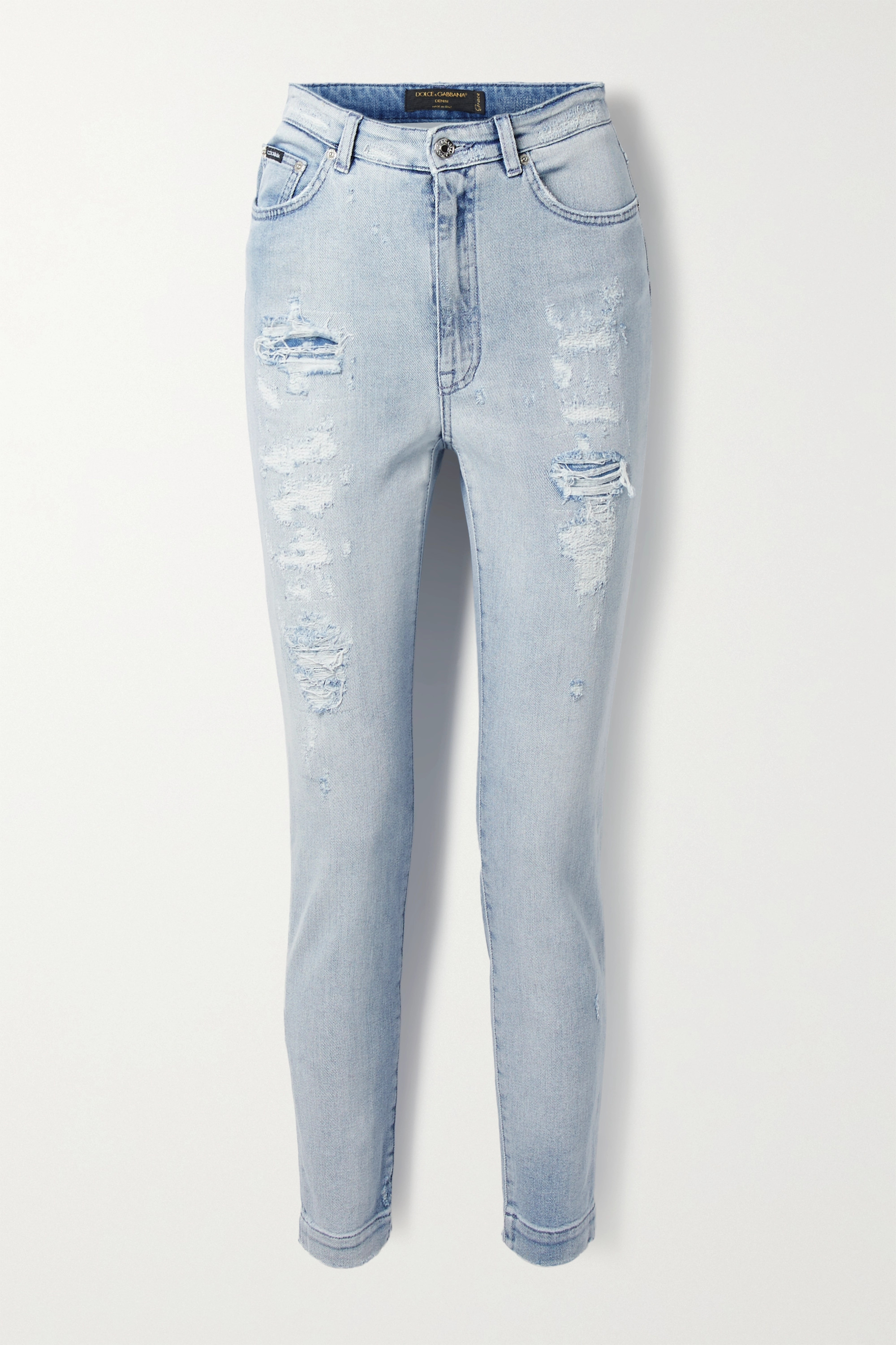Dolce & Gabbana - Distressed high-rise skinny jeans