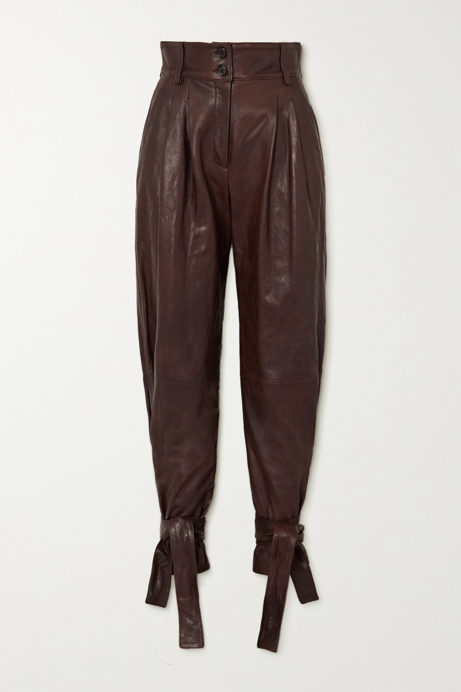 Dolce & Gabbana Tie-detailed leather tapered pants