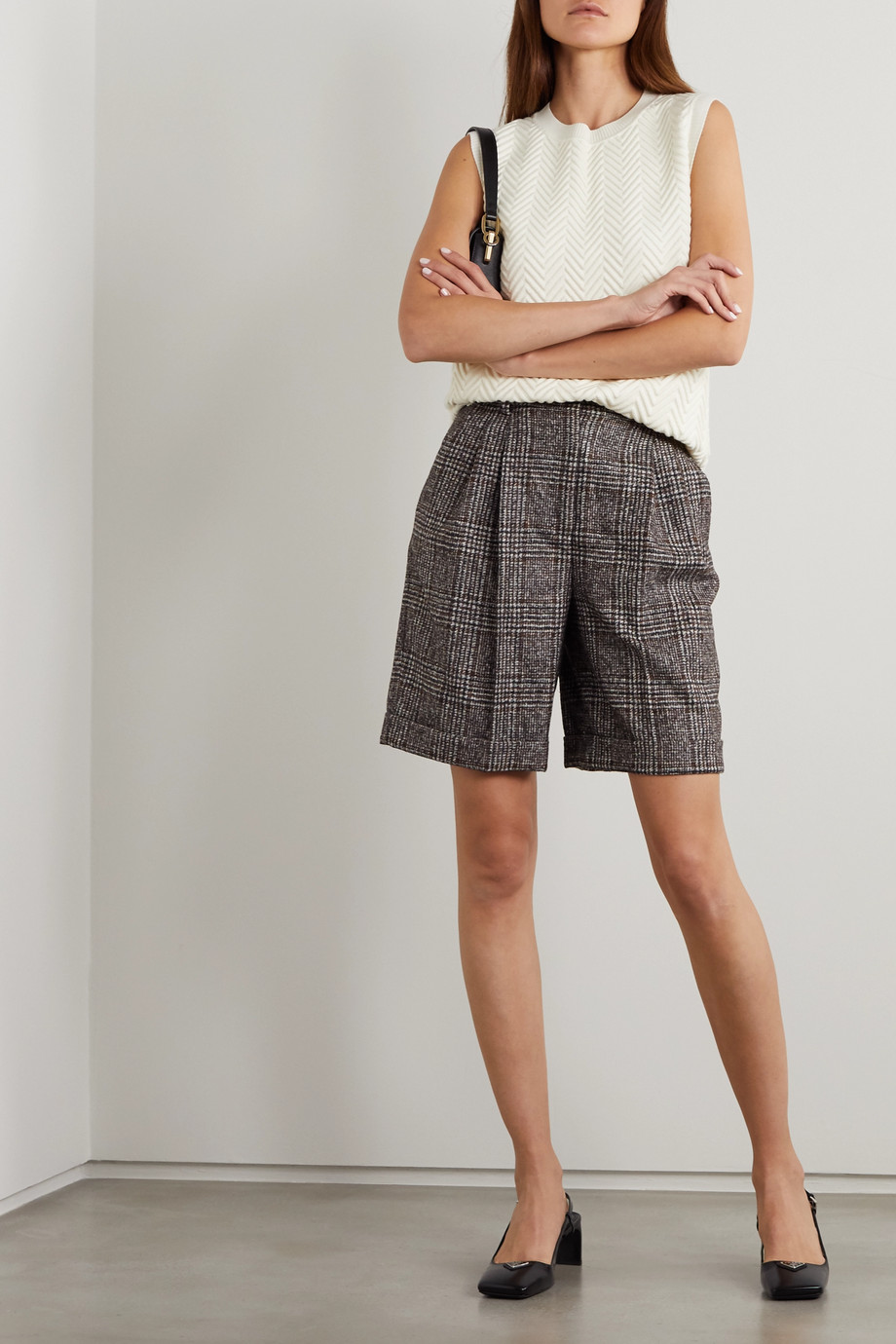 Dolce & Gabbana Pleated checked wool-blend shorts