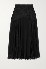 Dolce & Gabbana Lace and silk-blend chiffon midi skirt