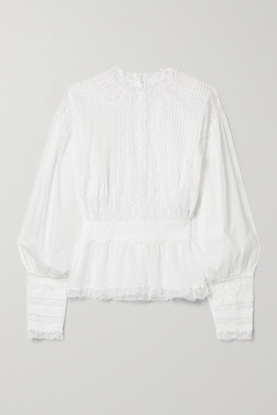 Dolce & Gabbana Blouse en voile de coton mélangé à empiècements en dentelle