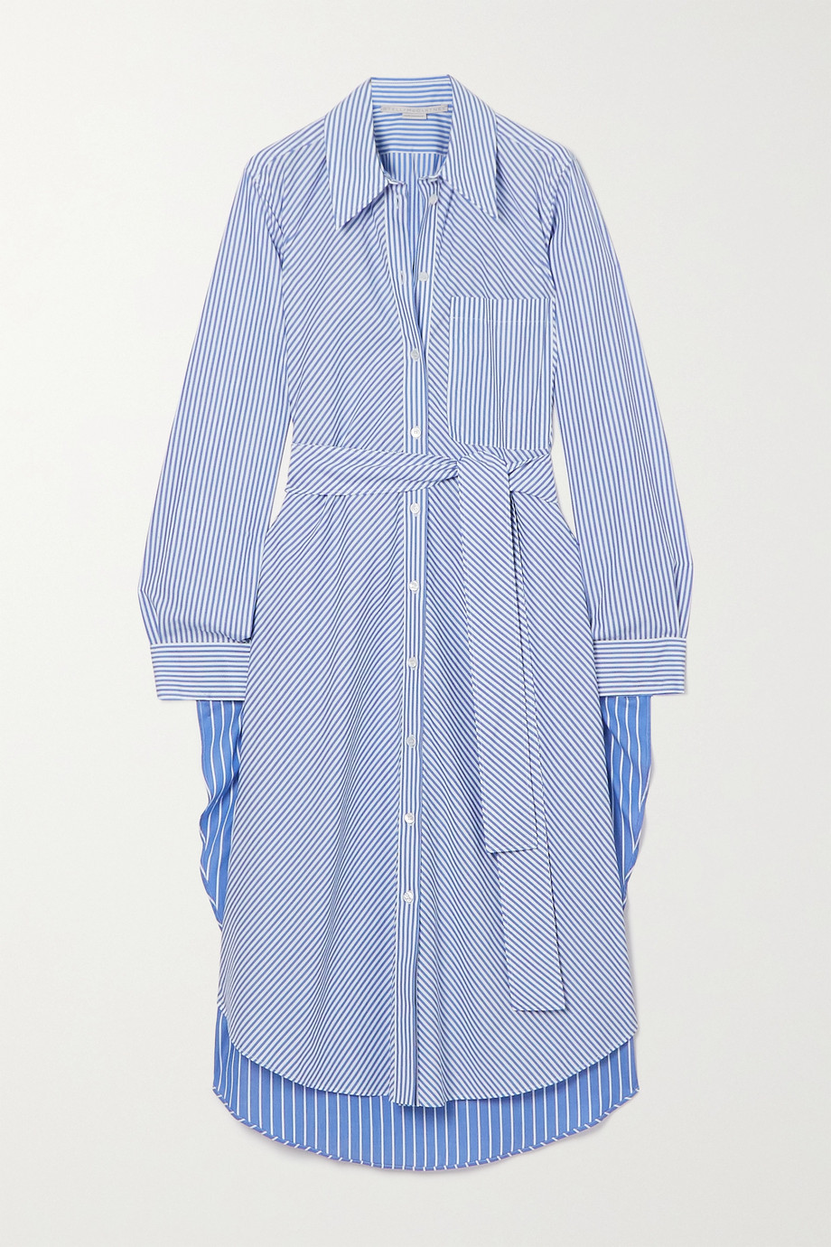 Stella McCartney Kyra belted pinstriped cotton-poplin midi shirt dress