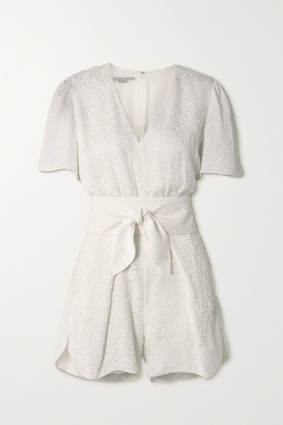 Stella McCartney Lila belted silk-blend cloqué playsuit