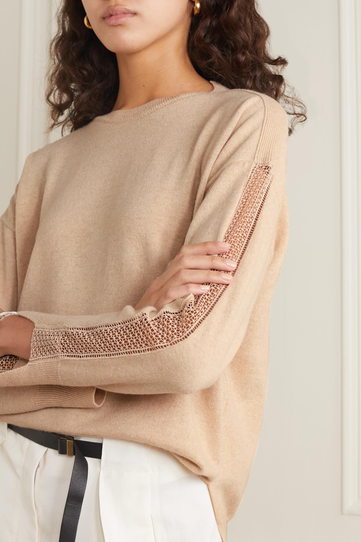 Stella McCartney + NET SUSTAIN crochet-trimmed cashmere and wool-blend sweater