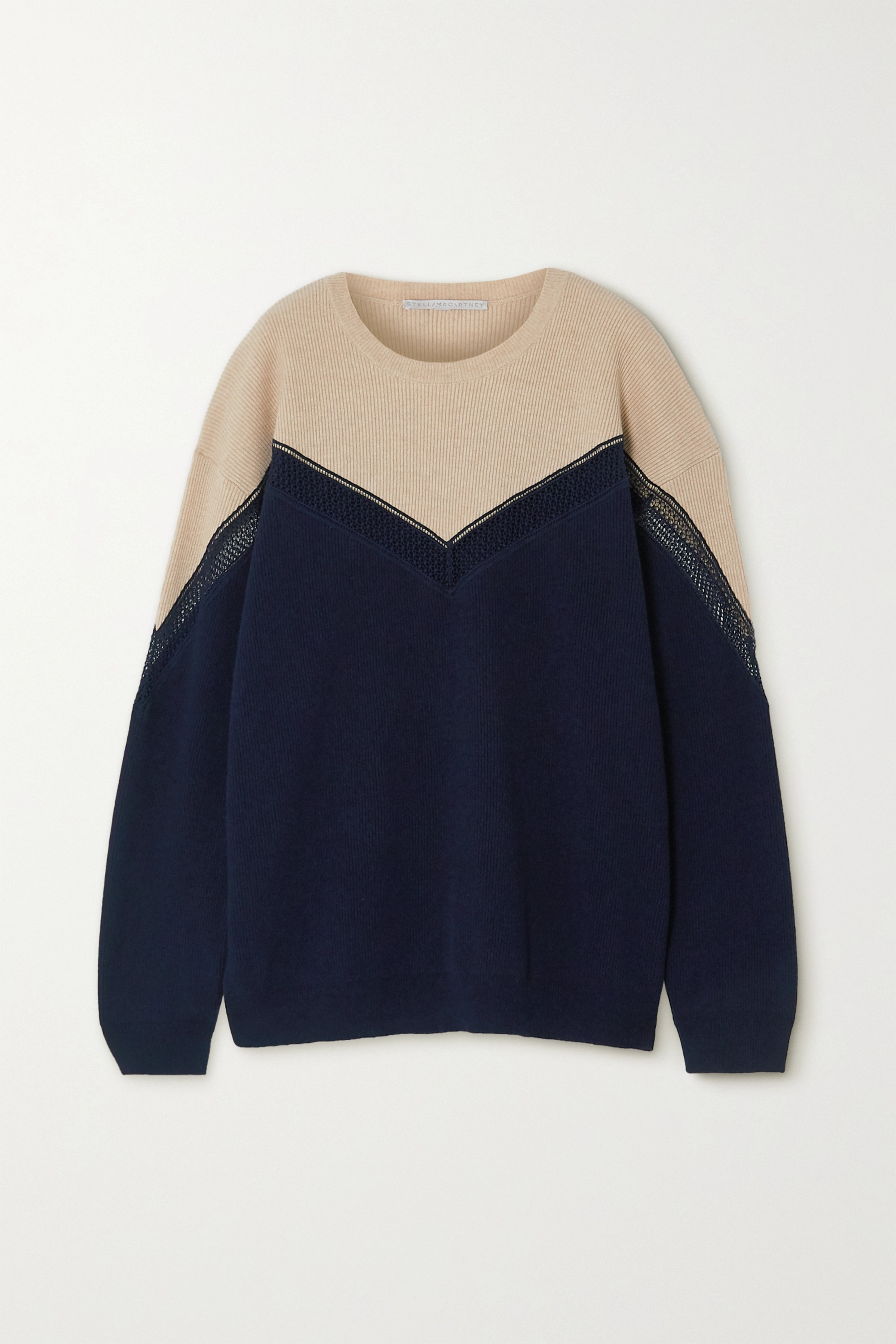 Stella McCartney + NET SUSTAIN two-tone paneled ribbed cashmere and wool-blend sweater