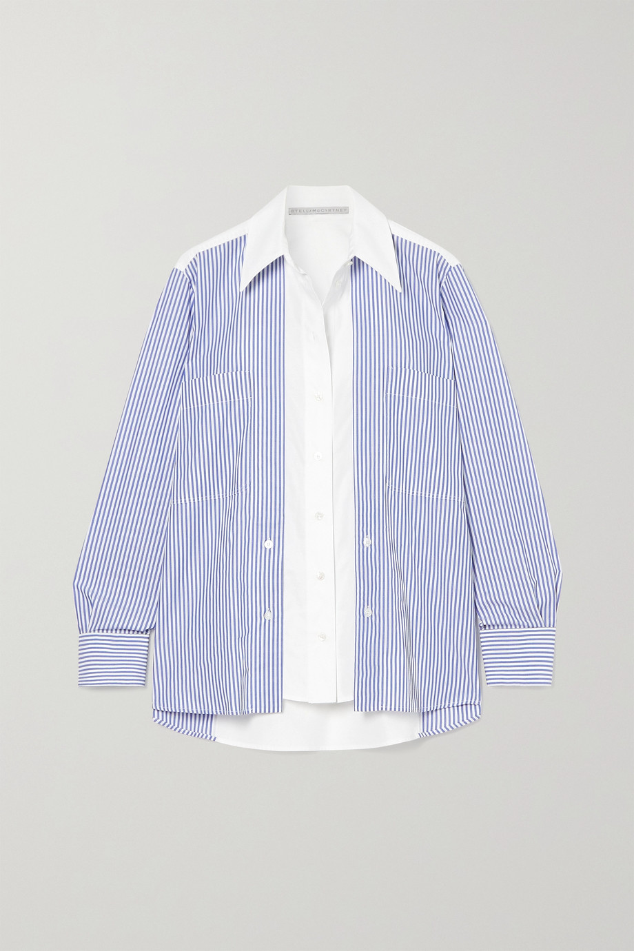 Stella McCartney Elaina paneled striped cotton-poplin shirt