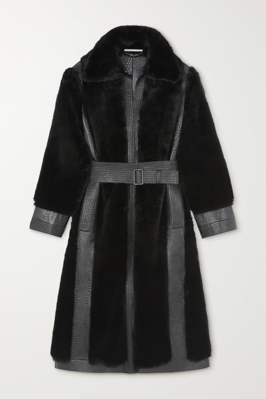 Stella McCartney Belen Mantel aus lasergeschnittenem Kunstleder und Faux Fur mit Gürtel