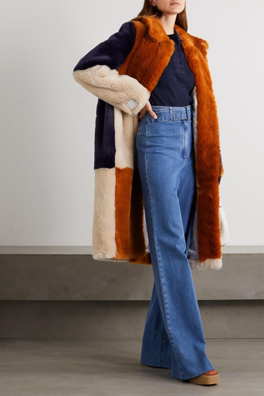 Stella McCartney Adalyn Mantel aus Faux Fur in Patchwork-Optik