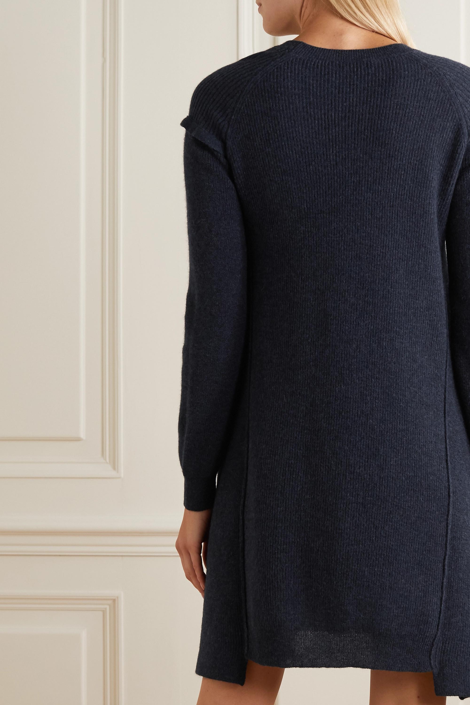Stella McCartney Asymmetric ribbed wool and alpaca-blend mini dress