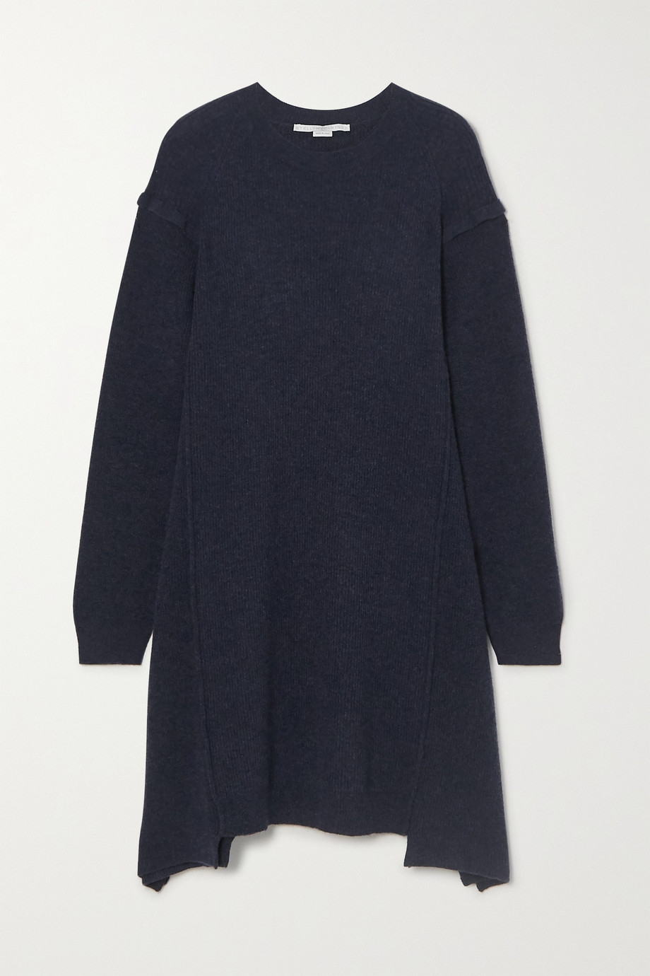 Stella McCartney Asymmetric ribbed wool and alpaca-blend mini dress