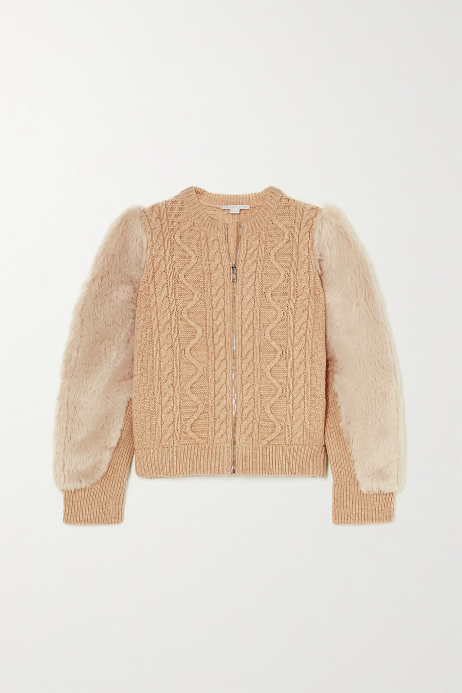 Stella McCartney Faux fur-trimmed cable-knit wool jacket
